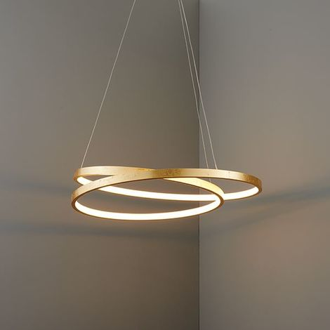 Endon Scribble Ring Pendant Ceiling Light Gold Leaf Frosted 33W LED Warm White