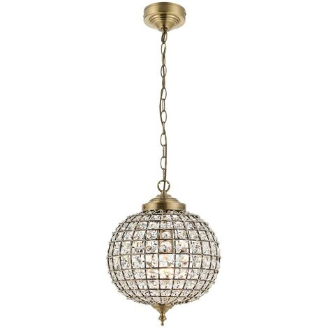 Endon Tanaro - 1 Light Ceiling Globe Pendant Antique Brass, Glass, E27