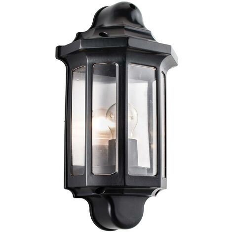 Endon Traditional - Outdoor Wall Lantern Satin Black Paint, Clear Polycarbonate IP44, E27