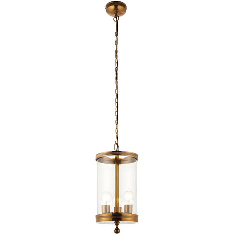 Endon Vale pendant 3x 60W Antique brass tinted lacquer & clear glass