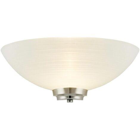 Endon Welles - 1 Light Indoor Wall Uplighter White, Satin Chrome, E27