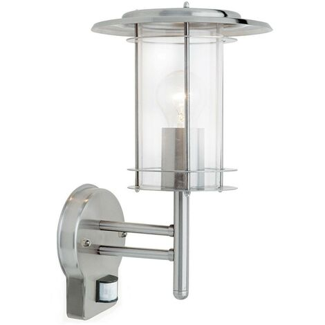 Endon York Pir - PIR 1 Light Outdoor Wall Lantern Polished Stainless Steel, Clear Polycarbonate IP44, E27
