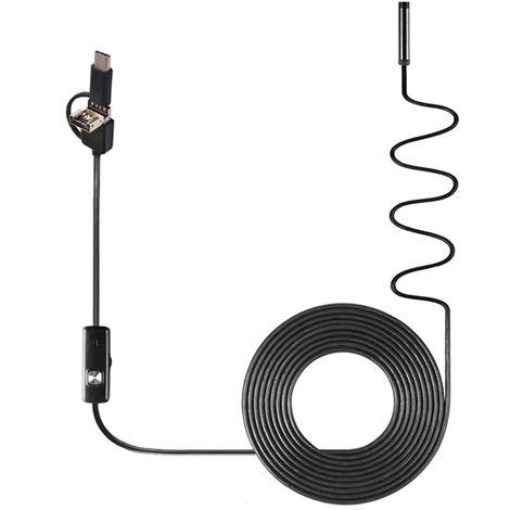 Endoscopio industrial 3 en 1, resistente al agua IP67, sonda de 8 mm, cable flexible de 3.5m