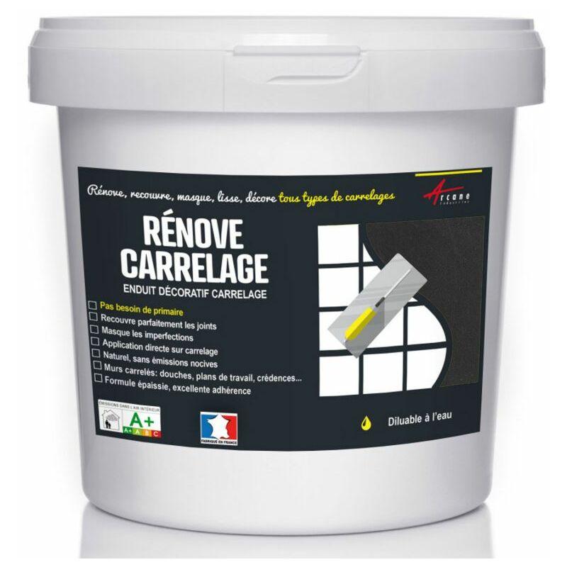 Enduit Carrelage Mural Et Sol Recouvre Et Rénove Faïence Masquage Cuisine  Salle De Bain   RENOVE CARRELAGE   Kit 4kg   2.6m² Pour 2 Couches   Carbone    ...