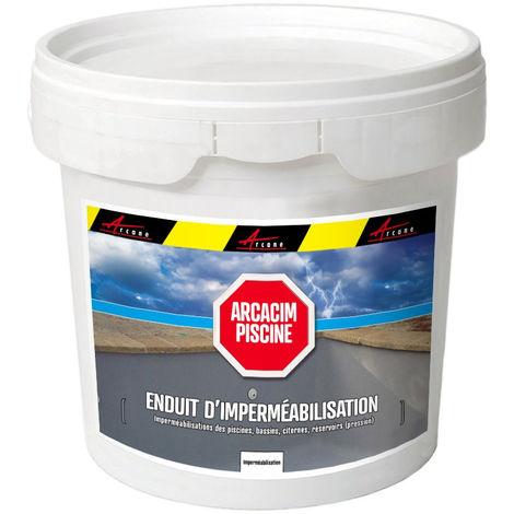 Enduit d'étanchéité hydrofuge piscine béton bassin parpaing - ARCACIM PISCINE - ARCANE INDUSTRIES - Gris - 5 Kg