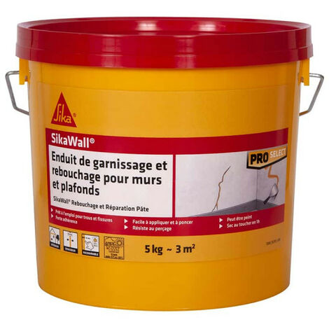 Enduit de garnissage SIKA SikaWall Rebouchage et réparation pour murs et plafonds - 5Kg - Blanc
