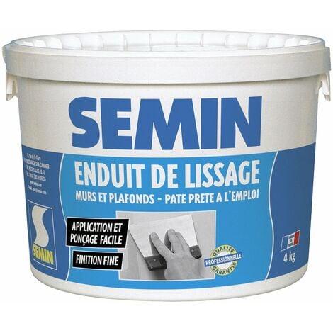 Enduit de lissage en pâte pour murs et plafonds Semin - intérieur - Seau de 4 kg