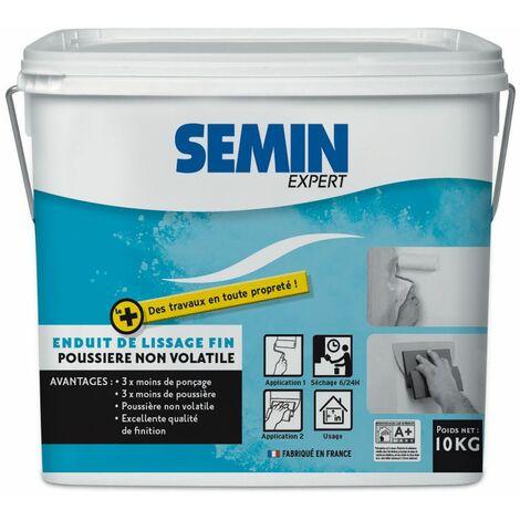 Enduit de lissage poussière maîtrisée seau de 10 Kg - Semin