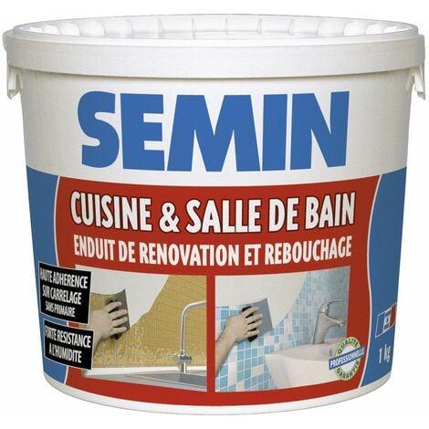 Enduit de rebouchage et rénovation spécial cuisine et salle de bain Semin - adapté aux pièces humides - seau de 1 kg