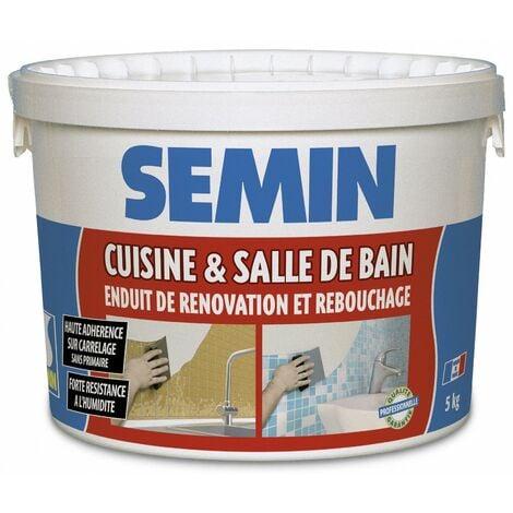 Enduit de rebouchage et rénovation spécial cuisine et salle de bain Semin - adapté aux pièces humides - seau de 5 kg