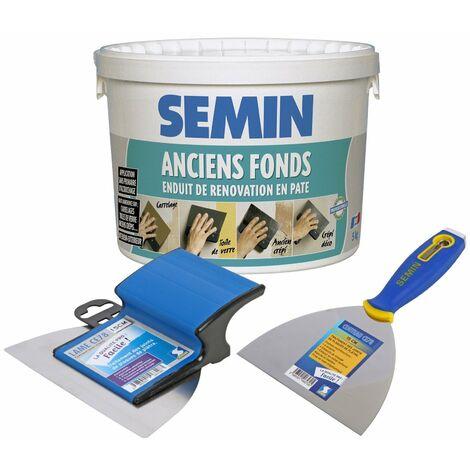 Enduit de rénovation pour les supports irréguliers Anciens Fonds Semin - intérieur/extérieur - seau de 5 kg, un couteau à enduire - 15 cm et une lame CE 78 pour enduire et lisser - 15 cm