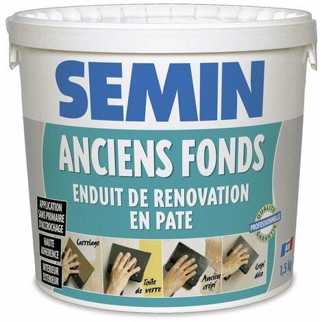 Enduit de rénovation pour les supports irréguliers Anciens Fonds Semin - spécial toile de verre, carrelage, peinture - intérieur/extérieur - seau de 1,5 kg