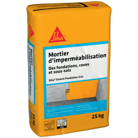Enduit d'imperméabilisation pour fondation, caves et sous-sol SIKA Enduit Fondation - Gris - 25kg - Gris