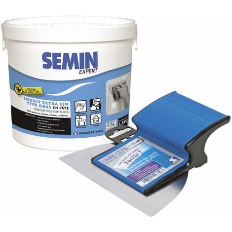 Enduit extra fin Semin - lissage type gras, sans solvants, séchage rapide - intérieur/extérieur - seau de 1,5 kg et une lame CE 78 pour enduire et lisser - 15 cm