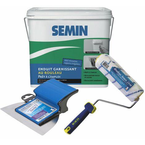 Enduit garnissant Semin pour la rénovation des supports très endommagés - intérieur - seau de 10 kg, A06723 Rouleau pour application d'enduit - 23 cm, une lame pour enduire et lisser - 15 cm