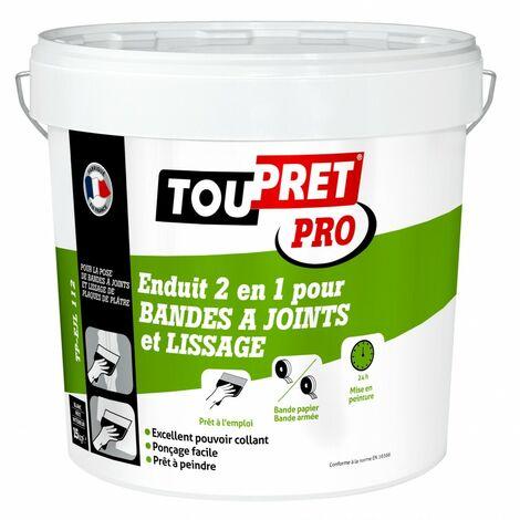 Enduit pour bande à joint TOUPRET 2 en 1 15 kg en pâte, pour plaque de plâtre