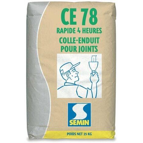 Enduit pour réaliser les joints de plaques de plâtre CE 78 Rapide Semin - temps de prise 4 heures - intérieur - sac de 25 kg