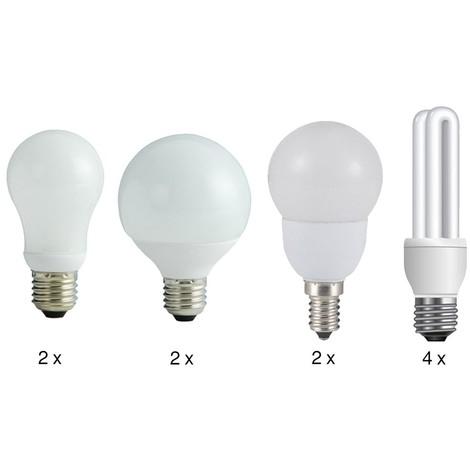 Energiesparlampen -Set mit 4 verschiedenen Energiesparlampen
