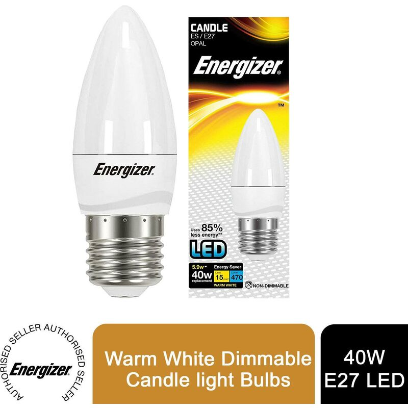Image of 15,000 LED Dimmable Light Bulbs-4 Packs Blister Candle E27 Warm White - Energizer