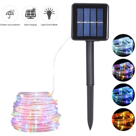 Energy Saving Solar Tube String Light 12M 100 Lamp Bead 8 Functions Transparent Pipe Copper Wire, Multicolor