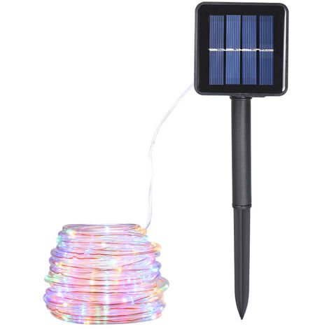 Energy Saving Solar Tube String Light 22M 200 Lamp Bead 8 Functions Transparent Pipe Copper Wire
