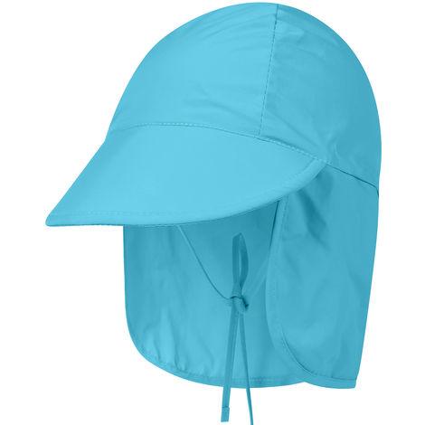 Enfants Chapeau De Soleil Large Brim Enfants Sun Cap Pour Voyage Camping Randonnee, Bleu