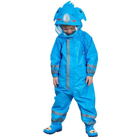 Enfants Raincoat Respirant Rainwear Raincoat Impermeable Pour Enfants Garcons Filles Les Etudiants Rainsuit Capuche Haute Visibilite Reflechissant Raincoat, Bleu, M