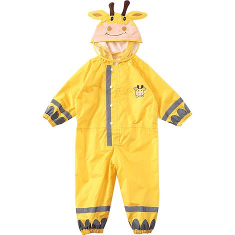 Enfants Raincoat Respirant Rainwear Raincoat Impermeable Pour Enfants Garcons Filles Les Etudiants Rainsuit Capuche Haute Visibilite Reflechissant Raincoat, Jaune, S