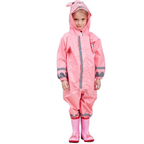 Enfants Raincoat Respirant Rainwear Raincoat Impermeable Pour Enfants Garcons Filles Les Etudiants Rainsuit Capuche Haute Visibilite Reflechissant Raincoat, Rose, M