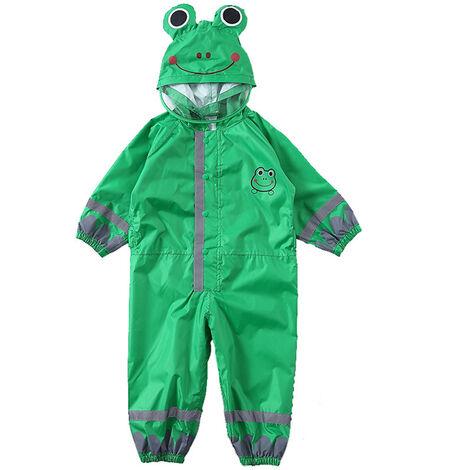 Enfants Raincoat Respirant Rainwear Raincoat Impermeable Pour Enfants Garcons Filles Les Etudiants Rainsuit Capuche Haute Visibilite Reflechissant Raincoat, Vert, S