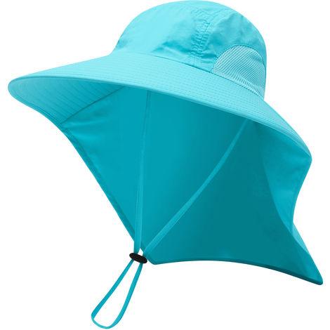Enfants Sun Hat Brim Sun Cap Large Col Flap Pour Voyage Camping Randonnee Peche Nautique, Bleu