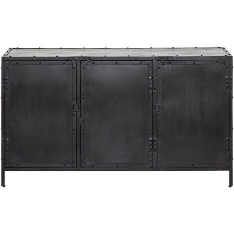 Enfilade Industrielle 3 Portes Noire - Metal noir