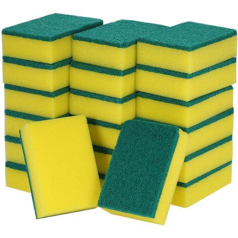 enfrentan doble 20pcs multiuso Esponja estropajos para lavar la vajilla Exfoliante Esponja manchas Extraccion de limpieza del depurador del cepillo, VERDE