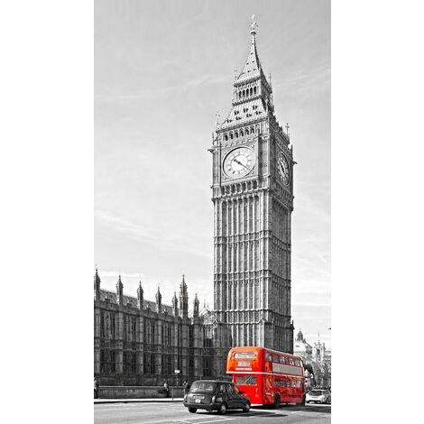 England, rideau imprimé Big Ben et bus anglais couleur rouge 140x245 cm, 1 part