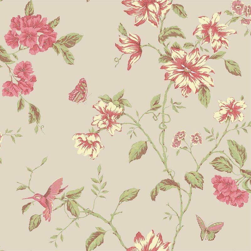 Image of English Florals Beige Botanic Blossom Wallpaper Summer Garden Matt Finish