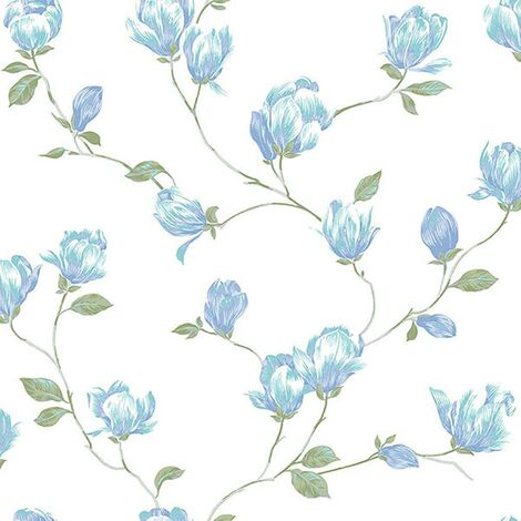 English Florals Wallpaper Galerie White Blue Green Flower Natural Traditional