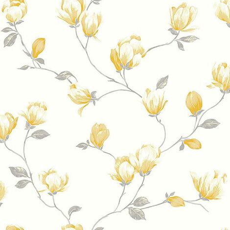 English Florals Wallpaper Galerie Yellow Cream Grey Flower Natural Traditional