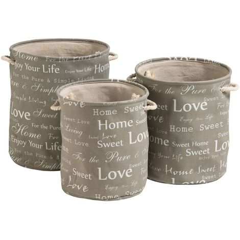 English Words Round Laundry Hampers,Canvas / Linen Liner / Cotton Rope Handles,Set of 3
