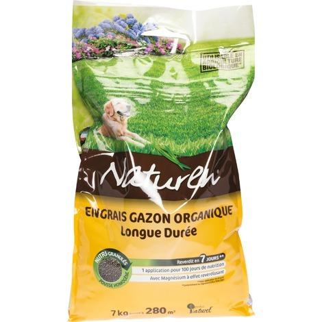 Engrais gazon organique longue durée Naturen - 7 kg - Marron