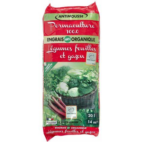 Engrais organique antimousse pour gazon et légumes feuilles - 20 litres