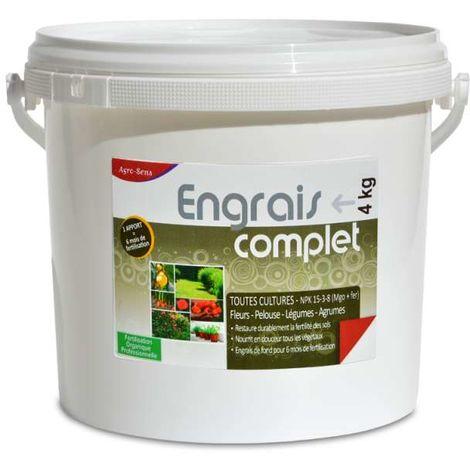 Engrais organique complet pour légumes, fleurs, fruits. Seau 4 kg