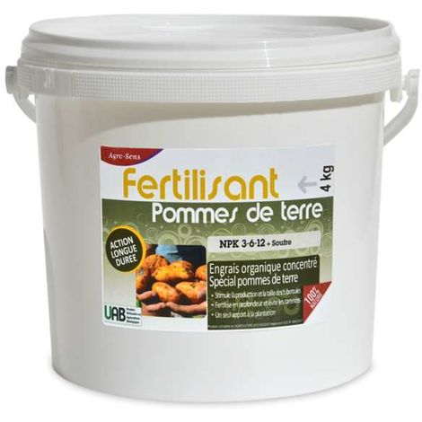 Engrais organique spécial pommes de terre NPK 3-6-12. Seau de 4 kg UA