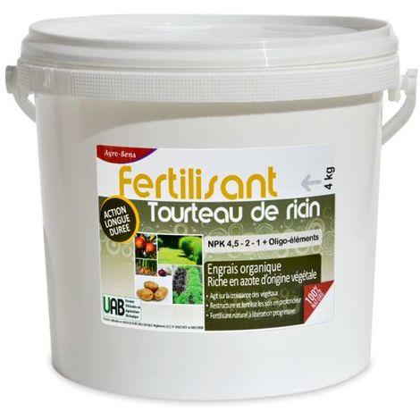 Engrais tourteau de ricin en granulés pour le jardin. Seau 4 kg
