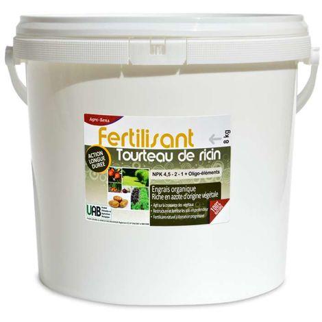 Engrais tourteau de ricin en granulés pour le jardin. Seau 8 kg