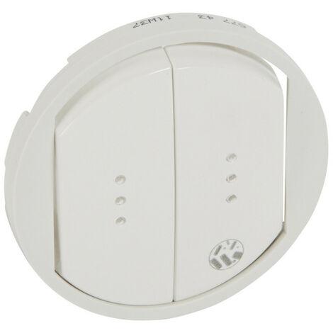 Enjoliveur antimicrobien Céliane pour double interrupteur, va-et-vient ou poussoir avec voyant Blanc (067743)