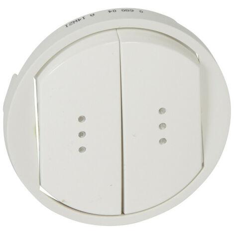 Enjoliveur large Céliane pour double interrupteur, va-et-vient ou poussoir avec voyant Blanc (068004)