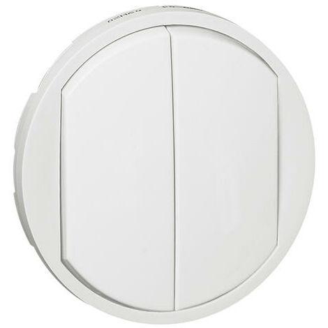 Enjoliveur large Céliane pour double interrupteur , va-et-vient ou poussoir - Blanc