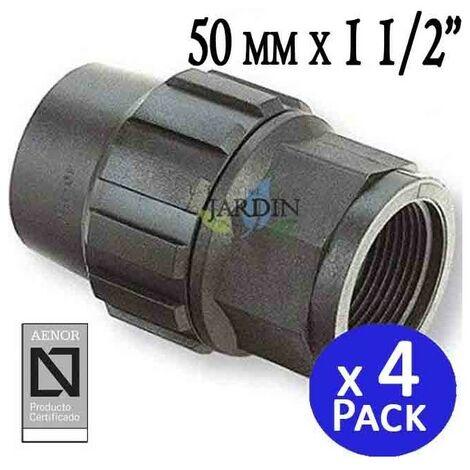 """Enlace hembra Polietileno 50mm x 1 1/2"""" (pack 4). Producto con certificado AENOR utilizado en tuberias PE 50 mm"""