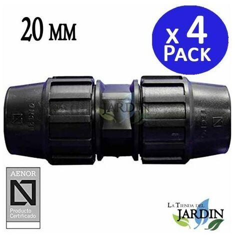 Enlace Manguito Polietileno 20mm (pack 4). Producto con certificado AENOR utilizado para unir tuberias PE 20 mm