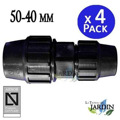 Enlace Manguito reducido 50-40mm (pack 4). Producto con certificado AENOR utilizado para unir tuberias Polietileno PE